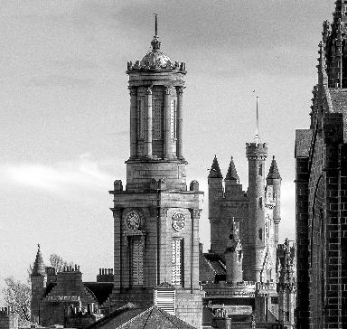 Towers of granite in old Aberdeen.