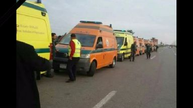 Ambulances at the scene after the attack.
