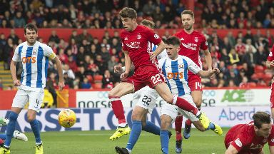 Aberdeen midfielder Ryan Christie sees his shot saved against Kilmarnock.
