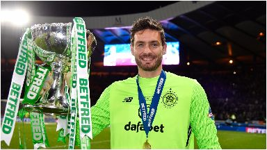 Gordon: Celtic goalkeeper with League Cup trophy.