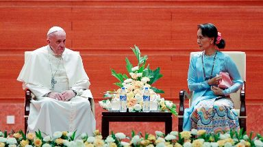 Pope Francis and Myanmar leader Aung San Suu Kyi.