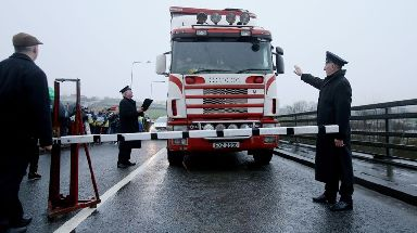 Anti-Brexit campaigners stage a protest on the Irish border.