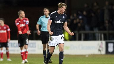 Mark O'Hara celebrates his second goal against Rangers.