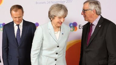 Three's a crowd? Donald Tusk, Theresa May and Jean-Claude Juncker.