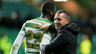 Brendan Rodgers congratulates Odsonne Edouard after his hat trick on Saturday.