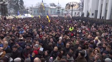 Supporters of Mr Saakashvili at his rally after he escaped arrest.