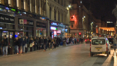 Taxi queue: The longer the line, the busier the night in Glasgow.
