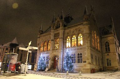Inverness town house done up in lights.