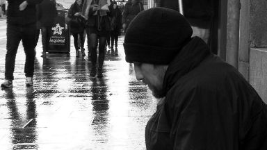 Homeless: Gordon begs on streets of Aberdeen.