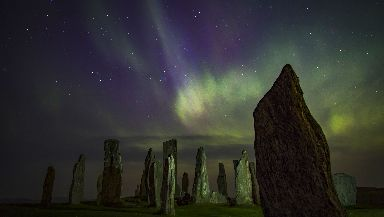 Spectacular: Mo captured the dazzling Northern Lights above the Callanish Standing Stones in Lewis.