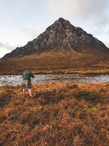 James felt 'Baltic' taking pictures in his kilt at the foot of Buachaille Etive Mòr.