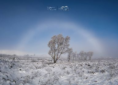 A fogbow appears at Loch Bà overlooking Rannoch Moor near Tyndrum.
