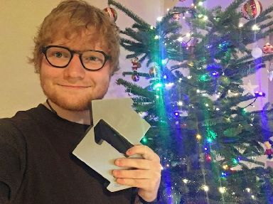 Ed Sheeran celebrates getting the Christmas number one spot.