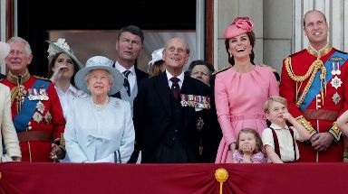 Members of the royal family watch the annual Trooping the Colour parade