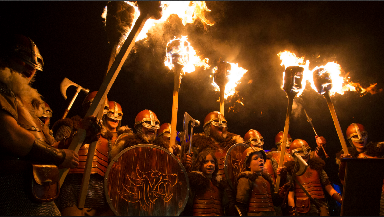 Up Helly Ae: Vikings took part in torchlight procession.