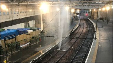 Rail: The burst pipe caused services to platform 19 to be redirected.