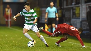 Mikey Johnston evades a challenge in Celtic's 6-2 UEFA Youth League loss to Bayern Munich.