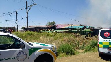 Pictures showed part of the train had derailed.