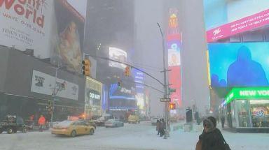 Snowfall in New York City.