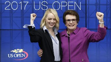 Emma Stone with retired tennis star Billie Jean King.