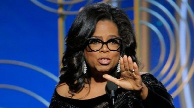 Oprah Winfrey accepts the Cecil B. Demille Award during the 75th Golden Globe Awards at the Beverly Hilton.