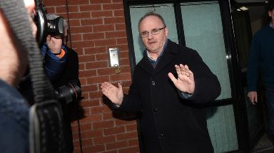 Barry McElduff leaves party HQ on Monday after meeting the party leadership.