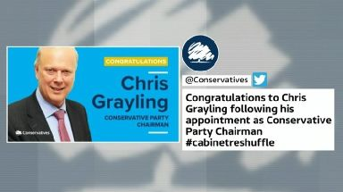 Chris Grayling was wrongly announced as the new Tory chairman by the party's press team.