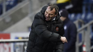 Anger: Csaba Laszlo was furious with his side's 6-1 defeat to Falkirk.