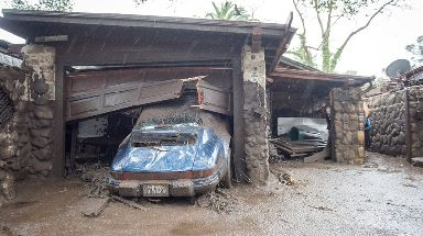 Damage done by flood waters to the Montecito Creek and East Valley Rd area.