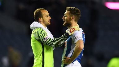 Kilmarnock's Jamie MacDonald (L) and Stephen O'Donnell at full-time after beating Hearts in November.