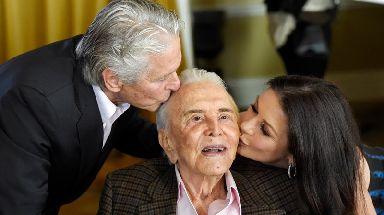 Michael Douglas with his father, Kirk, and Catherine Zeta-Jones.