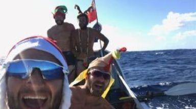 The four celebrated Christmas aboard the 26ft rowing boat.