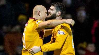 New signings Curtis Main (left) and Nadir Ciftci celebrate together.