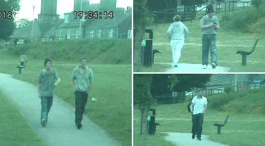 Runners: Vidgen (in hat) and Wallace were caught moving drugs on CCTV.