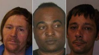 Jailed: Vidgen (l), Simpson and Wallace dealt drugs in Aberdeen.