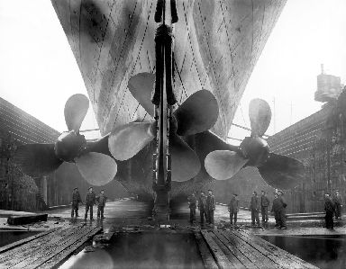 Propellers: Vintage maritime photo of the Titanic in dry dock.