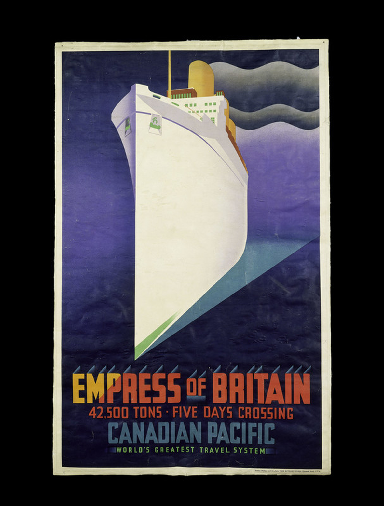 Empress of Britain: Colour lithograph poster for Canadian Pacific Railways.