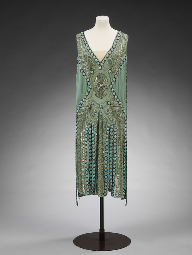 Fashion: Silk georgette and glass beaded 'Salambo' dress worn in 1920s.