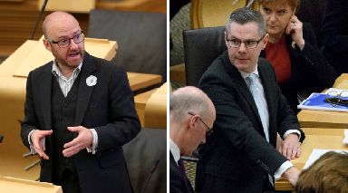 Deal done: Patrick Harvie (left) has agreed to support Derek Mackay's plans.