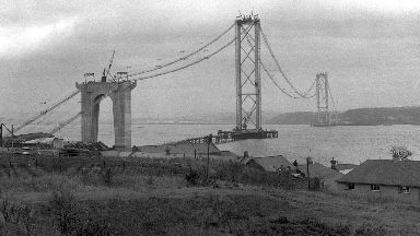 Building: Work on the bridge began in 1958.