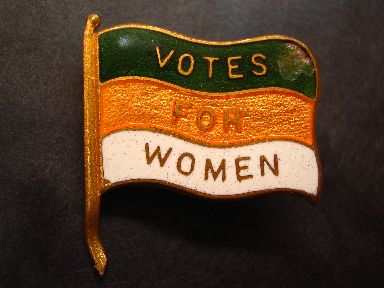 Women's Social and Political Union lapel pin.