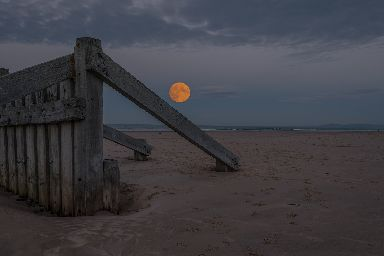 Supermoon at Lossiemouth East Beach.