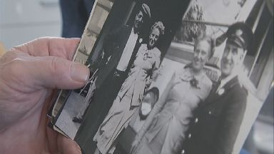 Reunited: Davie was given pictures of his mother and father.