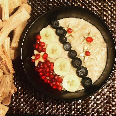 Gluten free and dairy free banana star porridge,
