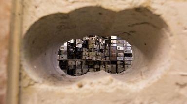 Holes drilled to gain access to the Hatton Garden Safe Deposit, in Hatton Garden, London