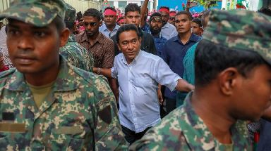 President Yameen Abdul Gayoom (centre) has kept a tight grip on power.