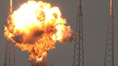 A Falcon 9 rocket explodes at Kenned Space Center in Florida in 2016.