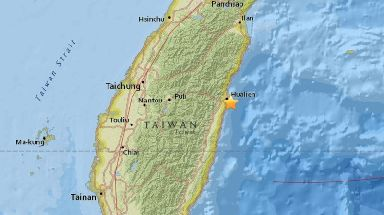 The USGS says the quake struck around 21km off Hualien.