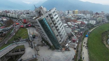 Buildings were damaged by the quake.