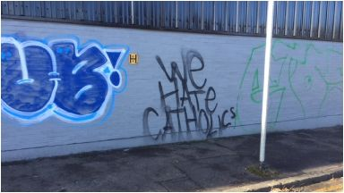Sectarian: Graffiti spotted in Glasgow.